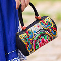 2016 new canvas Yunnan ethnic style embroidery bag handmade embroidered mini phone handbag purse small wallet