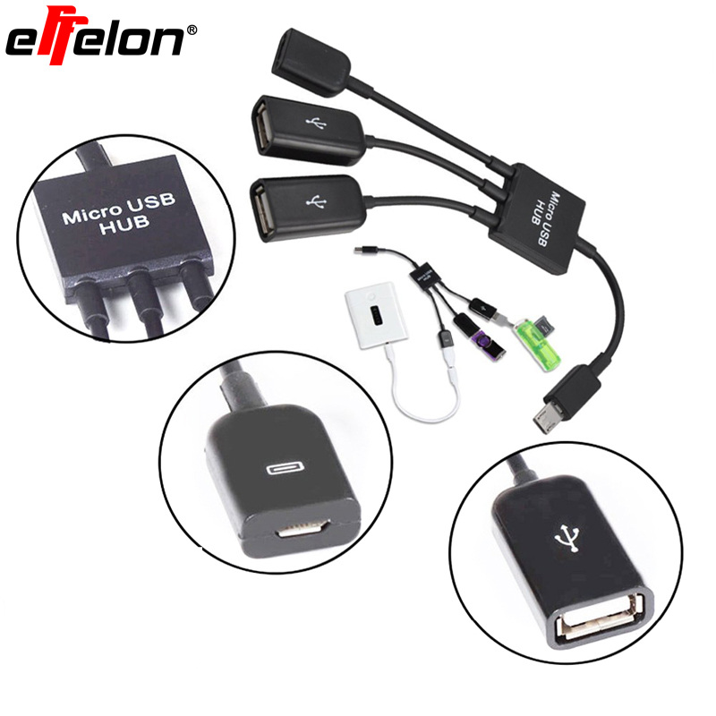 Effelon 3 in 1 Micro Usb OTG Hub Host Charge Cable With Charging Function For Samsung