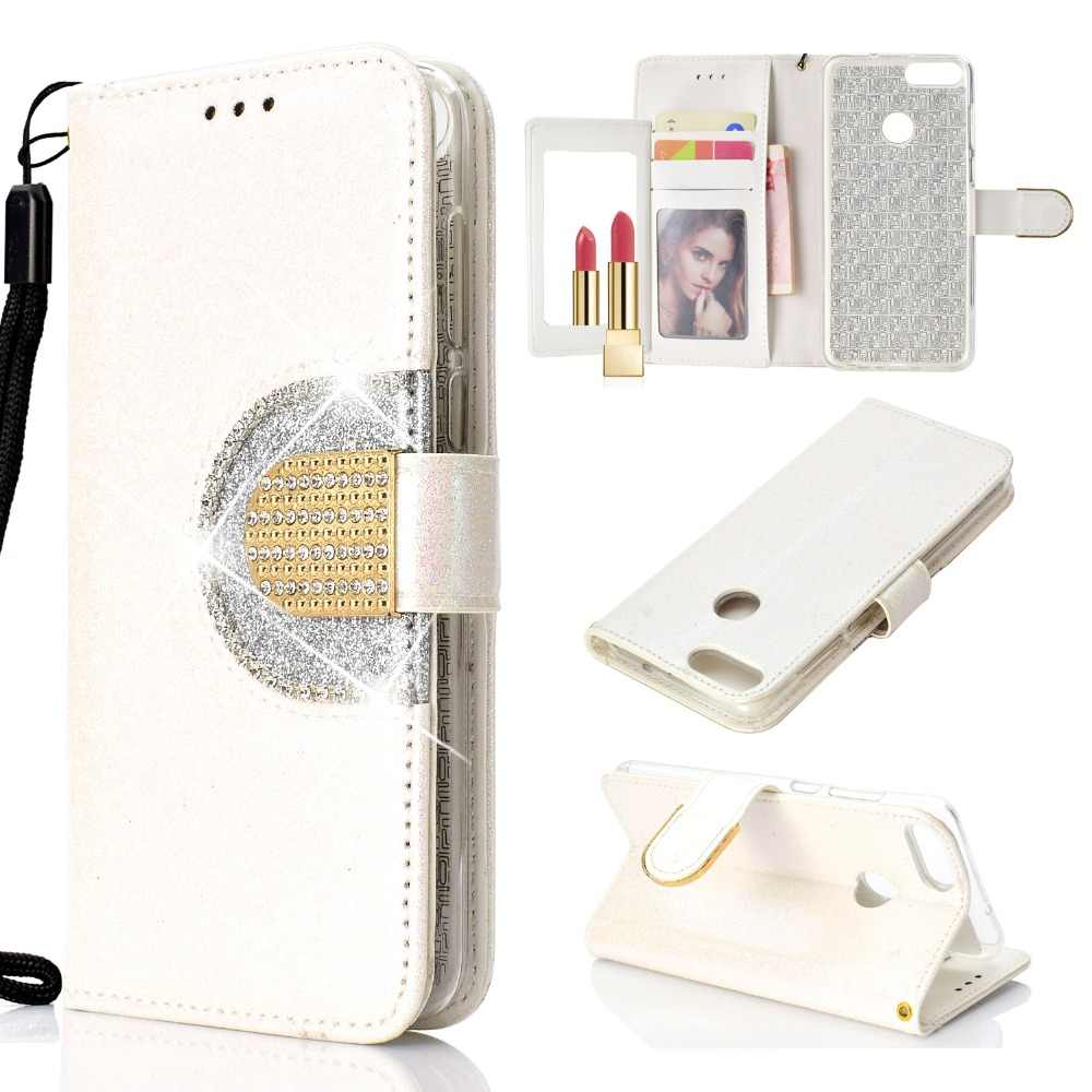 Spiegel Diamond Wallet Flip Case voor Huawei P Smart Shiny Bling Glitter PU Leather Magnetic Card Slots Cover voor Huawei P Smart