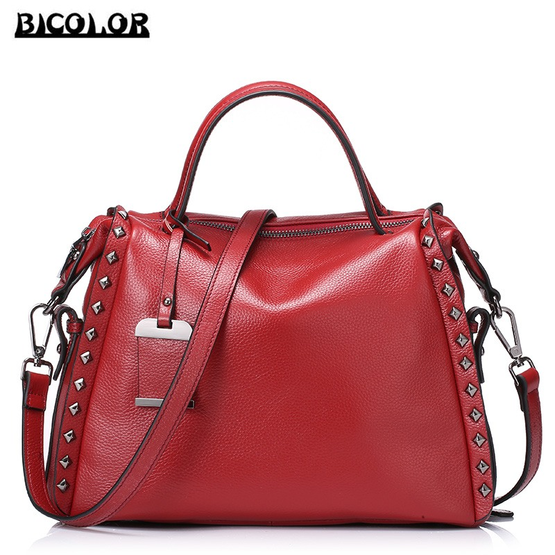 ФОТО BICOLOR High Quality Tote Bags Lady Cowhide Leather Handbag Women Crossbody Bag ladies Luxury Handbags Women Bags Designer Brand