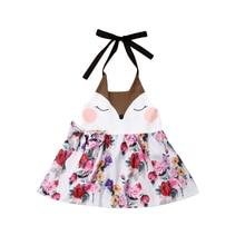цена на Toddler Baby Girl Dress Kids Floral Animal Summer Sundress Children Dresses Clothes Halter Kids Clothes Girls Princess Dress