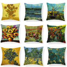 2019 Famous Oil Painting Plant Cushions Van Gogh Painter Pillow Case Printed Family Holiday Gift With Cover Burlap