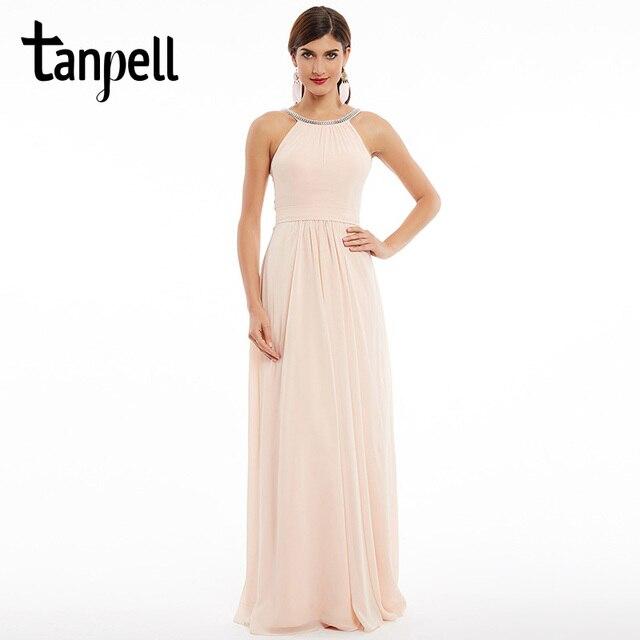 Tanpell scoop abito da sera lungo perla rosa increspato senza maniche  zipper up vestito da lunghezza 46f70817508