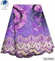 BEAUTIFICAL wax mix lace fabrixs african 2019 purple wax lace print fabrics mix wax fabric with guipure laces 6yards/lot TSC05