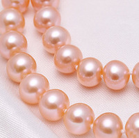 very good 17.5 !Freshwater Pearl Necklace,Cheap Jewelry natural, pink, 9 10mm + box 14 Fine women jewelry Fast shi