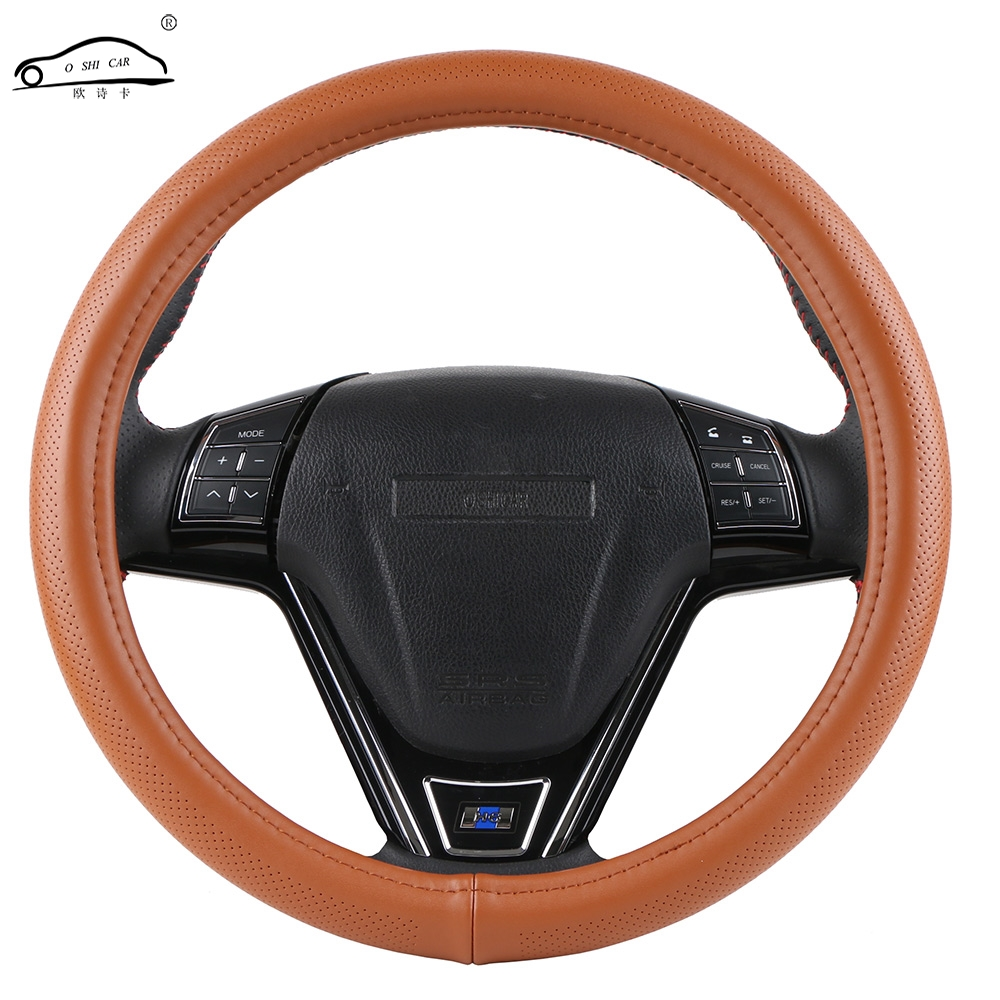 OshiCar® DIY Genuine  Leather Car Steering  Wheel Cover With Needles And Thread