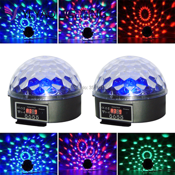 2pcs/lot Mini RGB LED Crystal Magic Ball Stage Effect Lamp Bulb Sound Activated