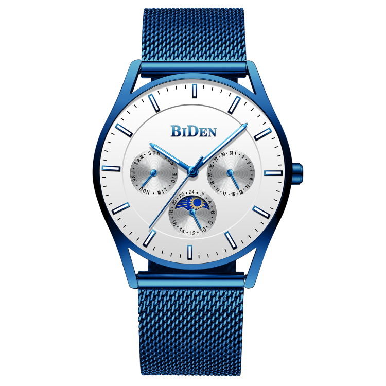 biden brand clocks mens luxuru blue quartz wristwatches stainless steel Mesh belt man watches calendar week Citizen movement|Quartz Watches| |  - title=