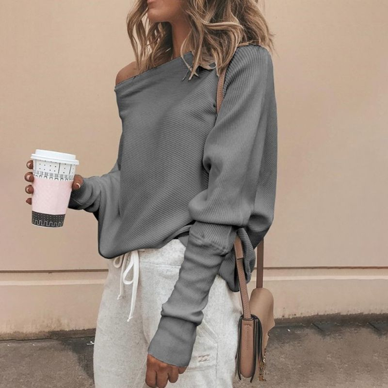 Women Autumn Spring Off Shoulder Sweater Long Batwing Sleeves Solid Color Knitted Pullover Tops Loose Casual Knitwear Jumper New 3