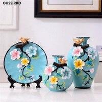 3Pcs/Set Ceramic vase 3D Stereoscopic dried flowers arrangement wobble plate living room entrance ornaments home decorations