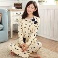 Comercio al por mayor Pijama de Manga Larga de las mujeres ropa de Noche de Otoño e Invierno Delgada SEDA de la LECHE Encantadora Pijamas de Las Mujeres Usan El Hogar