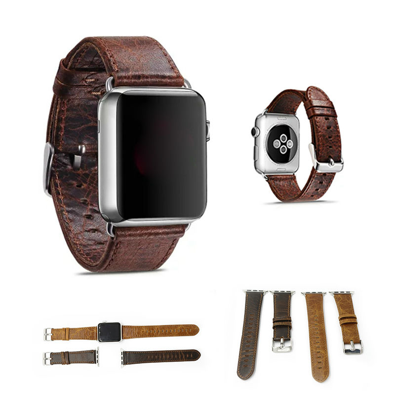 URVOI band for apple watch Handmade Vintage genuine crazy horse leather strap wrist for iwatch with adapters coffee brown colors