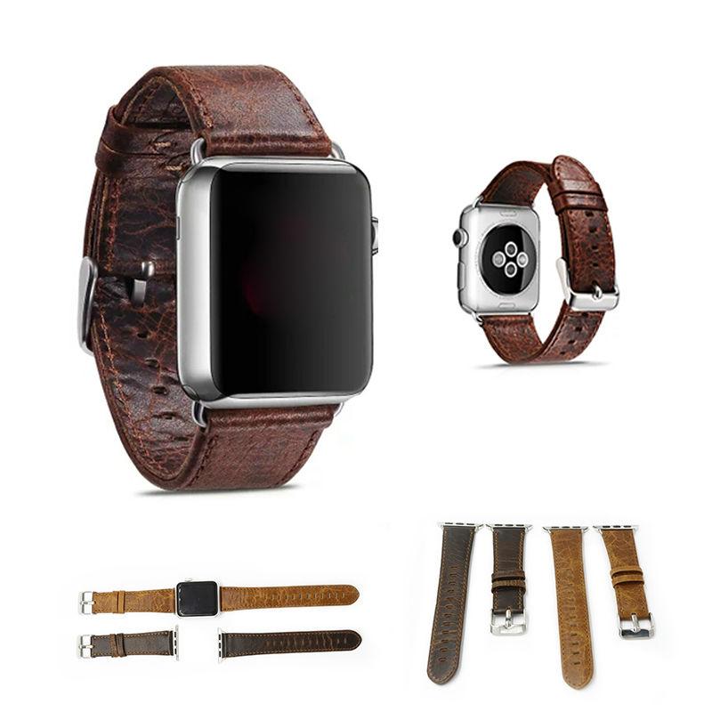 Prix pour URVOI bande pour apple watch Main Vintage véritable crazy horse bracelet en cuir poignet pour iwatch avec adaptateurs café brun couleurs