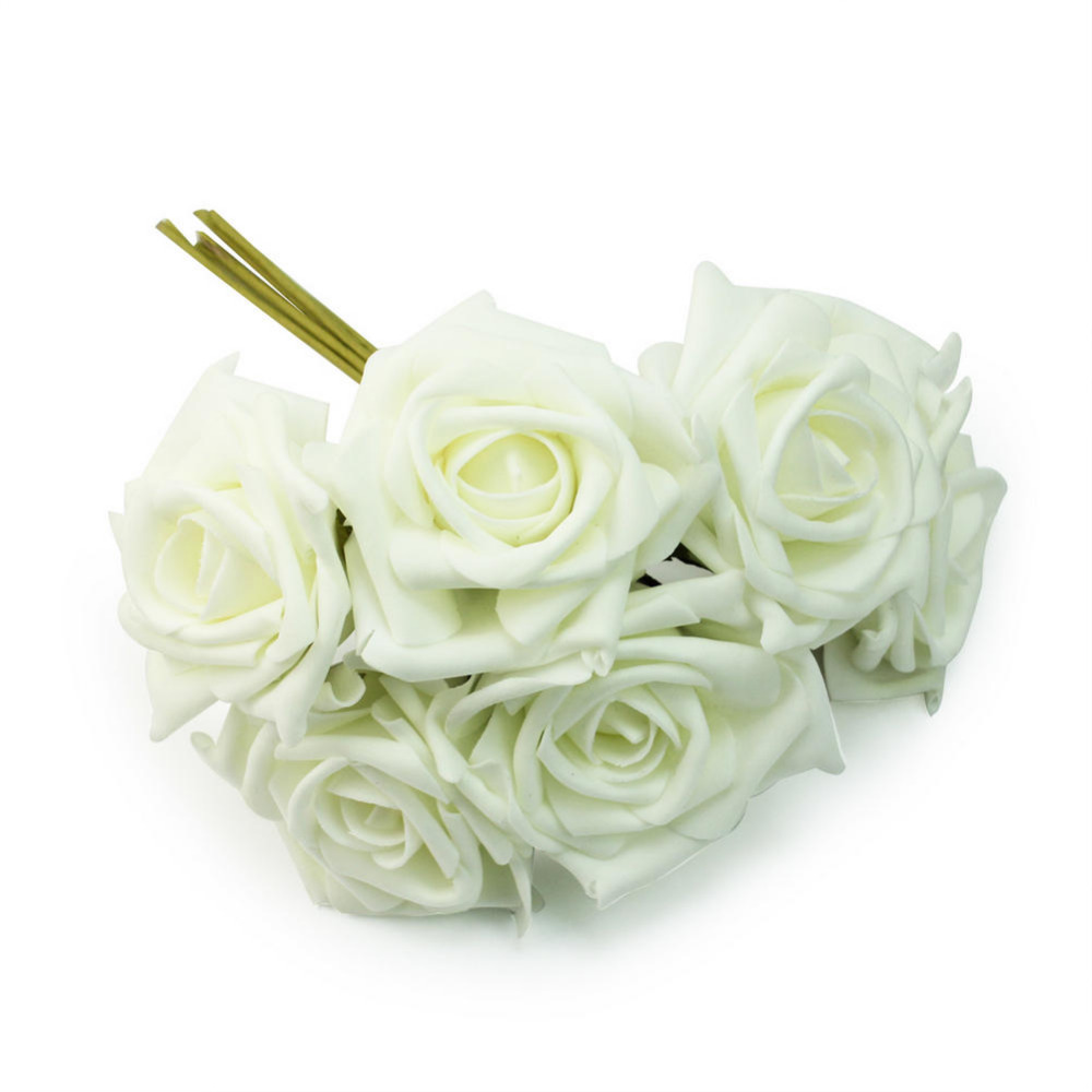2018 1 Bunch 6pcs Artificial Foam Ivory White Roses Flower Home