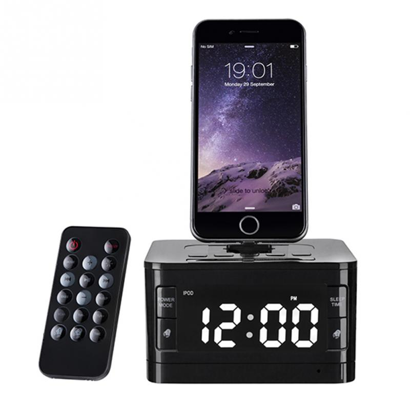 Brand LCD Digital FM Radio Alarm Clock Music Dock Charger Station Bluetooth Stereo Speaker for iPhone 5s 6 6s plus for iphone 7 5pcs pocket radio 9k portable dsp fm mw sw receiver emergency radio digital alarm clock automatic search radio station y4408