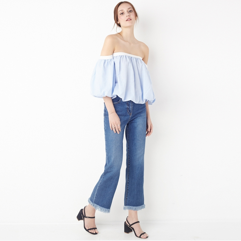 HDY Haoduoyi Fashion Plaid Backless Tops Women Half Sleeve Off Shoulder Female Pullover Tops Elegant Ruffles Slim Blouses Shirts 6