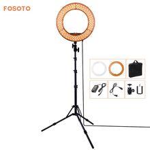 Fosoto RL-12 180 LED de Iluminación Fotográfica CRI 83 + Color de 5500 K Cámara de Vídeo Foto teléfono Anillo De Luz regulable Lámpara y Trípode soporte