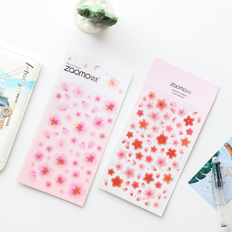 Freshness Cherry Blossoms Paper Decorative Stickers DIY Techo Album Diary Creative Stationery Small Stickers