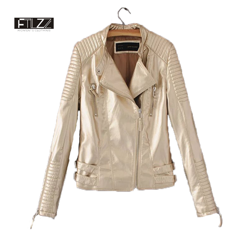 New 2018 Women Pink Fashion Bright Surface   Leather   Jacket Spring Autumn Long Sleeve Casual Stand Zipper Motorcycle Female Jacket