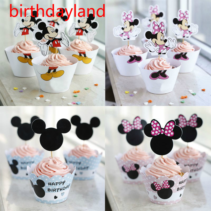 12pcs wrappers + 12pcs toppers minnie mickey mouse Design Colored Paper cupcake cake dec ...
