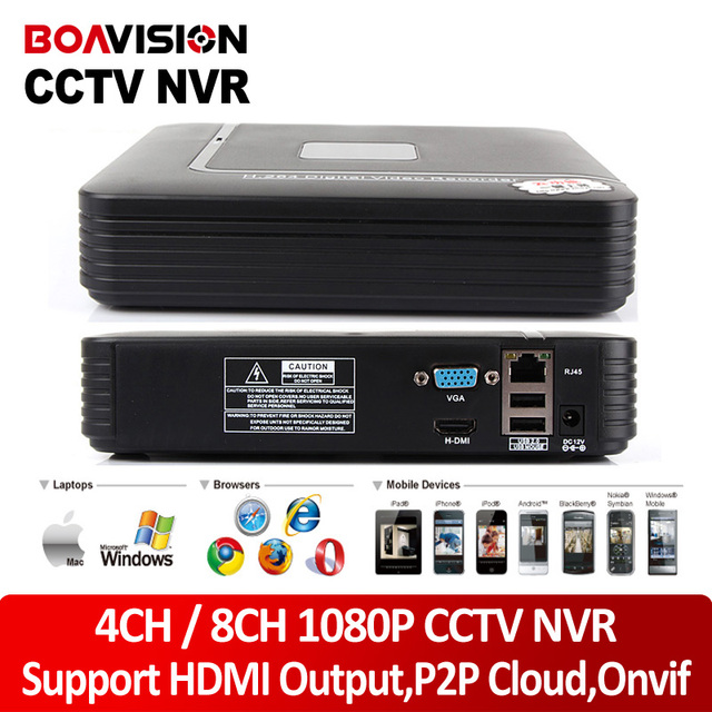 Boavision h.264 4ch/8ch mini red digital video recorder 1080 p onvif nvr cctv salida hdmi p2p nube vista