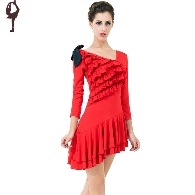 2018 New Arrival Latin Dance Dress Women Red Black Clothing For Short Long