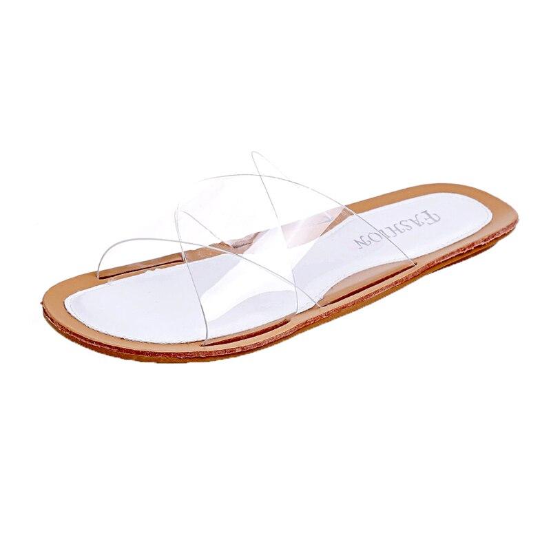 Moxxy Модные прозрачные тапочки для Для женщин из прозрачного ПВХ на плоской подошве без застежки летние шлепанцы пляжные бикини Босоножки же...
