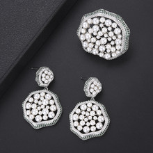 Luxury Imitation Pearl Cubic Zirconia Nigerian wedding earrings Rings Jewelry Findings african jewelry set For Women Girls(China)