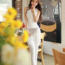 Original 2016 Brand Overalls Summer Plus Size Elegant Casual High Waist V-Neck Solid Color Long Office Jumpsuits Women Wholesale