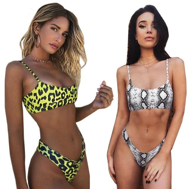 De piel de serpiente Bikini mujeres traje de baño de Bikini Sexy Biquini traje de baño empuja hacia arriba el traje de baño mujer ropa natación Bikini mujeres