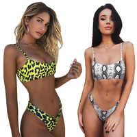 Pele de cobra Mulheres de Biquíni Swimwear Biquínis Sexy Biquini do Leopardo Maiô Empurrar Para Cima Maiô Feminino Beachwear Natação Bikini Mulheres