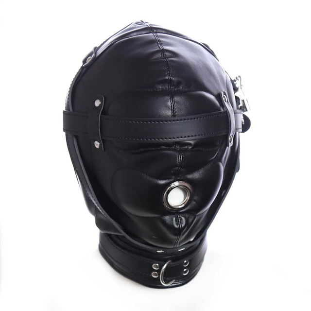 Leather Sensory Deprivation Hood Gimp Mask,Padded Blindfold Fetish Bondage  Roleplay Gimp,Sex Toys For Couple