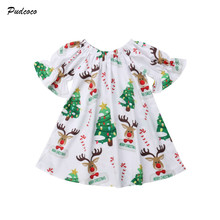 3-18M Newborn Baby Dress Christmas Infant Girls Flare Sleeve Deer Print Floral Princess Party Dress Xmas Clothes