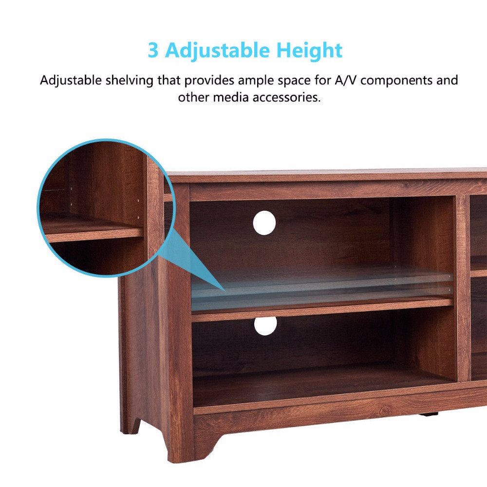 "58/"" TV Stand Entertainment Media Center Console Wood Storage Furniture w// Shelf"