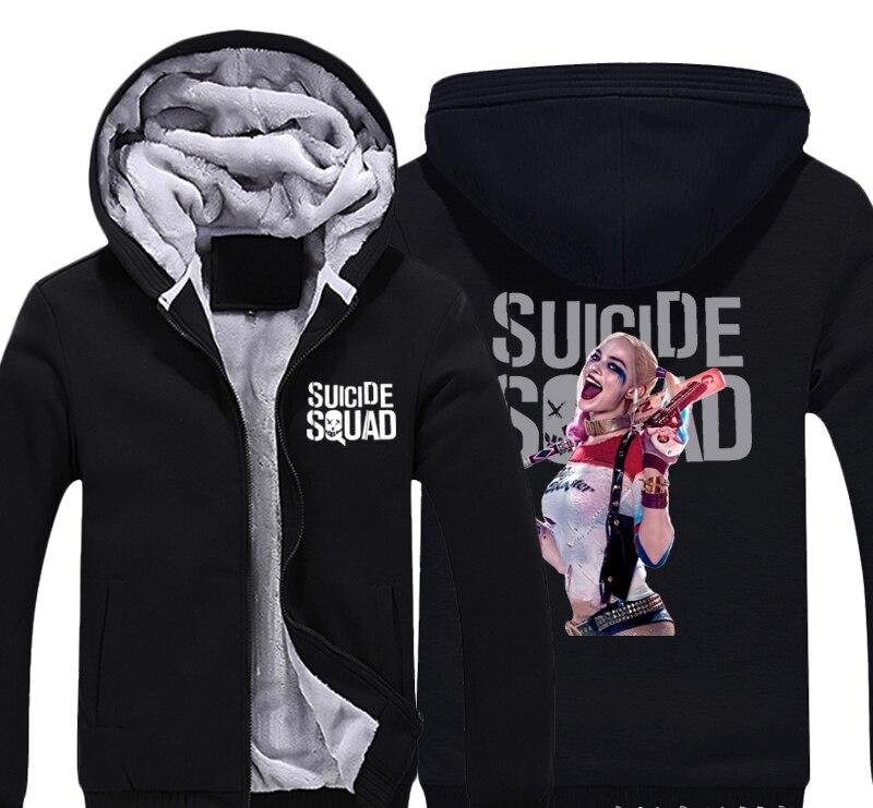 Harley Quinn Suicide Squad Clown Thick Fleece Men Boys Outwear Cotton Hoodie Coat Jacket Parkas Warm