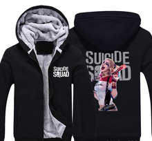 Harley Quinn Suicide Squad Clown Thick Fleece Men Boys Outwear Cotton Hoodie Coat Jacket Parkas Warm Menwear Gift