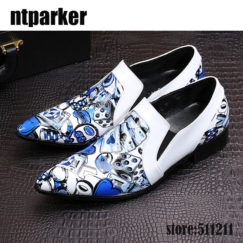 ntparker Italian Style Brand Designer's Shoes Pointed Toe Artist Men's Dress Shoes Rock Party/Night Club Wedding Shoes MEN!