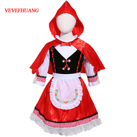 VEVEFHUANG Halloween Costumes For Baby Kid Girls Little Red Riding Hooded Costume Theatre Play Cos Apron Dress Party Outfit