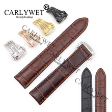 CARLYWET 18 20 22mm Real Leather Black Brown Crocodile Vintage Deployment Wrist Watch Band For Seamaster Planet Ocean