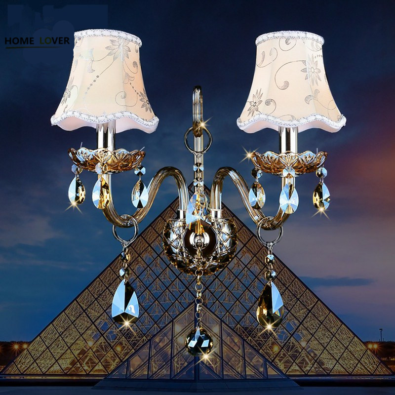 Fashion crystal wall lamp K9 cyrstal wall lights sconce wall bedroom bedside lamp candle double head wall lamp Luxury