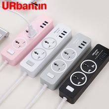 Urbantin 2AC & 3 USB Tắc Tổng Công Suất Dây USB Ổ Cắm Thông Minh Dây Nối Dài Ổ Cắm Ổ Cắm Đa Năng Có EU AU vương Quốc Anh Phích Cắm US