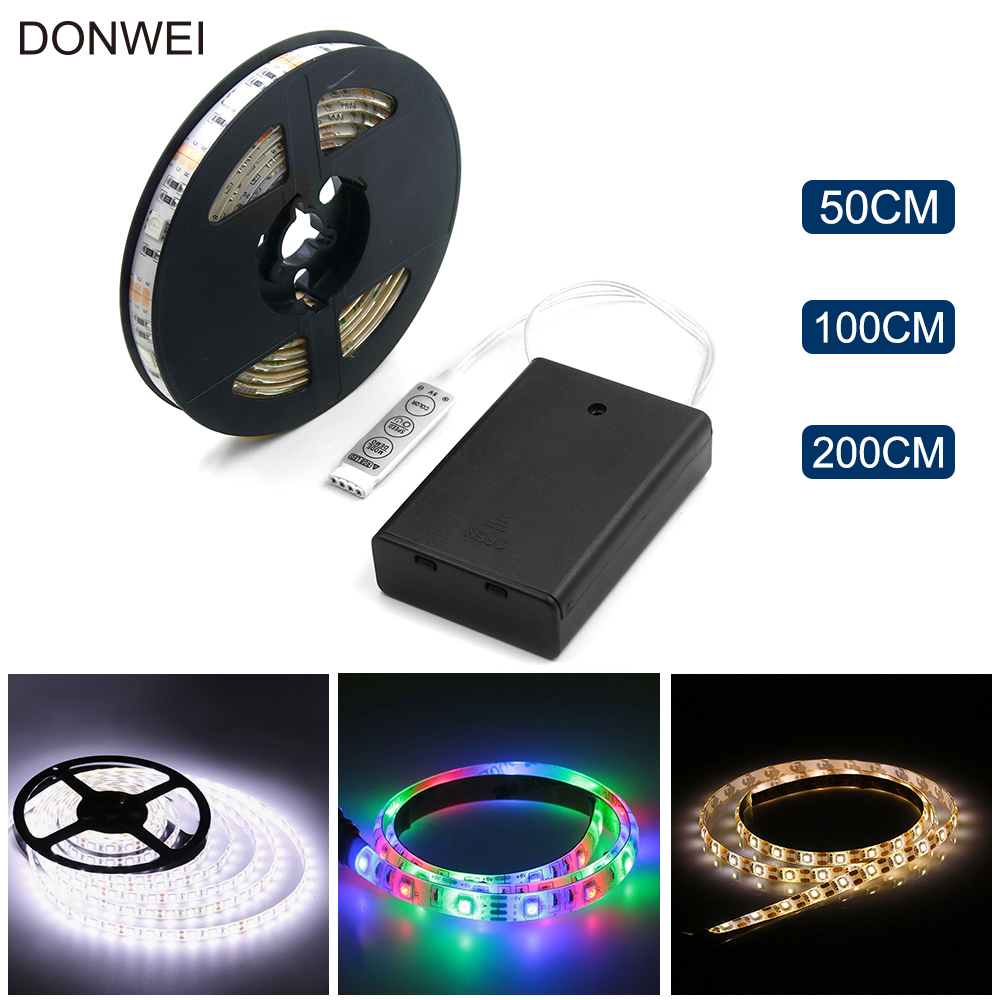 Battery Powered LED Strip 5050 SMD 50CM 1M 2M Warm White Cool White RGB Waterproof Flexible LED Strip String Light
