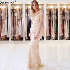 Image 5 - Silver Luxury Sexy Mermaid Evening Dresses 2020 Diamond  Beading Off Shoulder Evening Gowns Real Photo LA6406