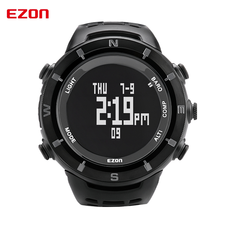 Mens Sports Watches EZON H001C01 Digital Watch Multifunctional Outdoor Climbing Wristwatches Altimeter Barometer Compass ezon outdoor sports for smart gps watches running male multifunctional 5atm waterproof electronic watch g1 black