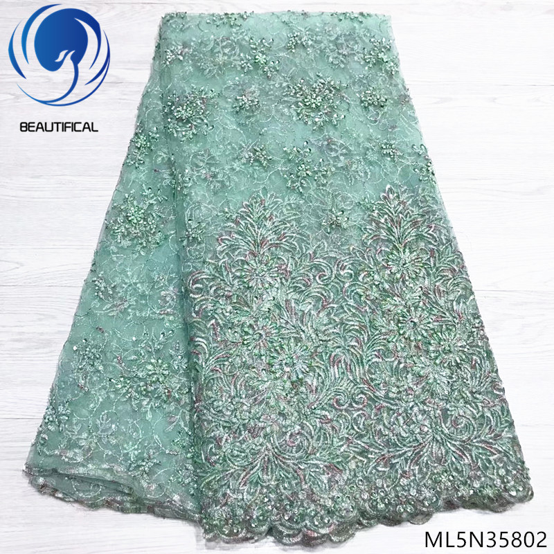 Beautifical african lace fabrics Top sale DIY beads net lace fabric with sequins 5yards make handcrafted beaded lace ML5N358Beautifical african lace fabrics Top sale DIY beads net lace fabric with sequins 5yards make handcrafted beaded lace ML5N358