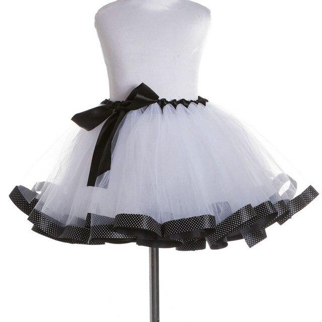 6185e96a3 Blanco + Negro Nuevo Niños Niñas Tutu Falda de Tul Falda de La Princesa Del  Bebé Esponjoso Pettiskirt Niños Mini Falda Para El Cumpleaños ...