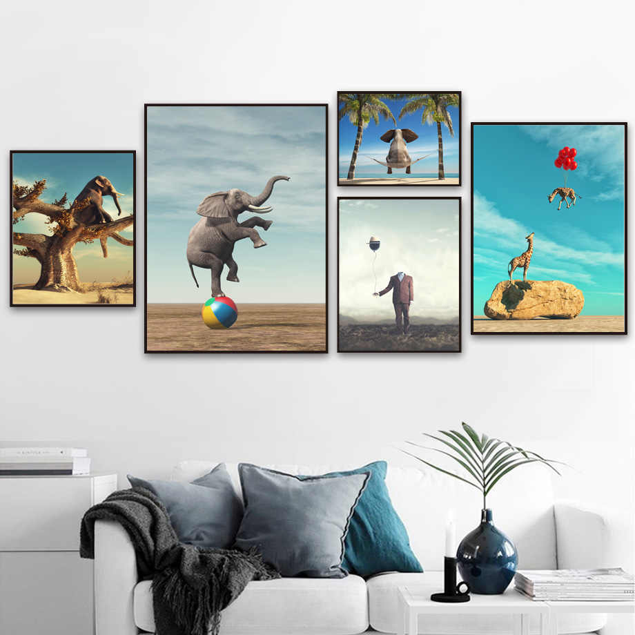 Surrealism Elephant Giraffe Wall Art Canvas Painting Nordic Posters And Prints Animal Wall Pictures For Living Room Home Decor
