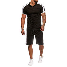 Male Polo Shirt And Shorts Fitness Sets Men Tracksuits Breathable Summer Hot Sale Europe Man Workout Clothing Sportswear Sweaty(China)