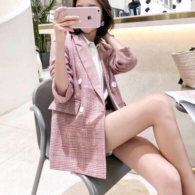 Rose Plaid Petit Femme Blazers 1 Costume Longue Veste Section Mode Chic Manteau De Lâche Nouvelle Sauvage Femmes O6qdx