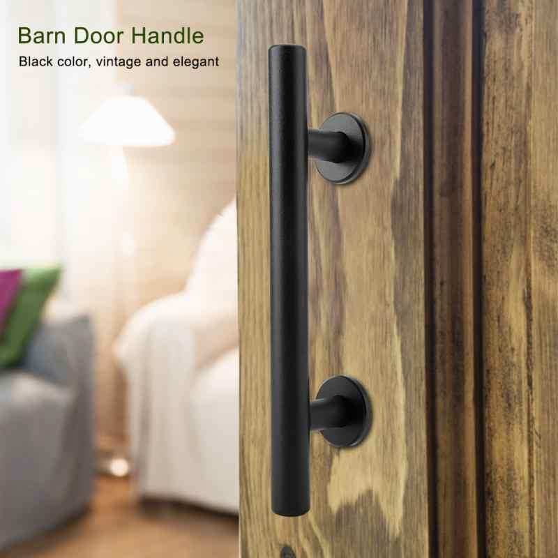 Carbon Steel Sliding Barn Door Pull Handle Wood Door Handle Black for Sliding Barn Door Closet Wooden Gate Hardware Accessories